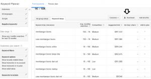 Hasil pencarian Google Keyword Planner.